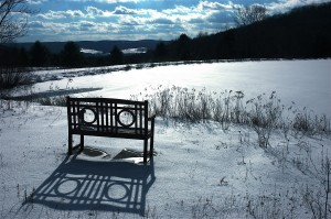 Snow picture with bench & pond